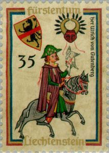 Issued in 1961, Liechtenstein - Codex Manesse