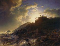 Andreas Achenbach - Sonnenuntergang nach einem Sturm an der Küste von Sizilien 1853