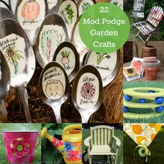 22 Unique Mod Podge Garden Crafts! So many fun crafts to do with the kidlets! Bianca@itti