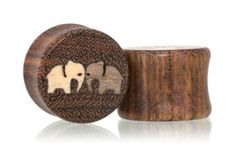 BUTTING HEADS ELEPHANTS Wood Plugs Gauges from Omerica Organic. Use Rep Code SWEETLE at checkout for 20% off your first purchase!