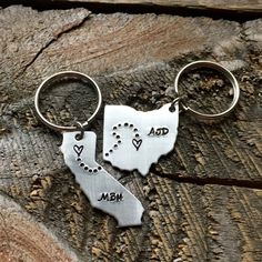 Personalized Initials ANY State hand stamped Keychain gift long distance relationship gift couples boyfriend girlfriend Ohio Christmas gift