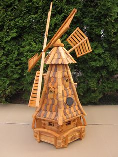 Windmill Garden Decor Large High 1 4M with Wood Shingles Brown with Solar Light | eBay