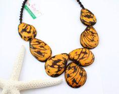 Collar naranja nuez de Tagua joyas declaración collar joyas