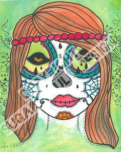 Flower Child Sugar Skull Print - 8x10