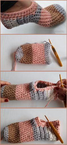 Crochet House Slippers – Design Peak – Hausschuhe und Socken – Home crafts Crochet Home, Crochet Crafts, Yarn Crafts, Crochet Baby, Crochet Projects, Free Crochet, Knit Crochet, Crochet Slipper Pattern, Crochet Boots