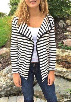 Long Sleeve Striped Cardigan - 4 sizes | Jane