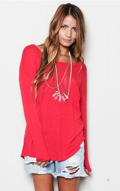 Want this shirt!!!! Looks comfy, stylish, and love the color!!!!