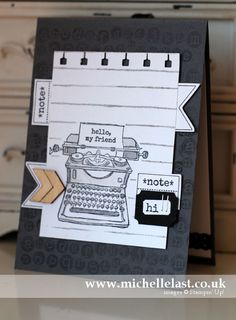 September 10, 2014 Michelle Last: Stampin' Up! Tap Tap Tap, Essentials Wooden Elements, Spiral Border Punch