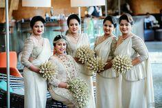 Dressed by Dhananjaya Bandara Sri Lankan Wedding Saree, Wedding Sari, Bridesmaid Saree, Brides And Bridesmaids, Srilankan Wedding, Christian Bride, Bridal Dresses, Dream Wedding, Fashion Blouses