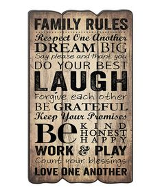 Look what I found on #zulily! 'Family Rules' Fence Post Wall Sign #zulilyfinds