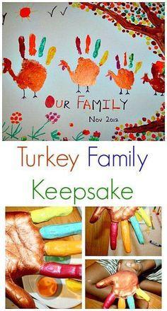 Fun Turkey art project that can be a family keepsake!#thanksgivingcrafts #thanksgiving