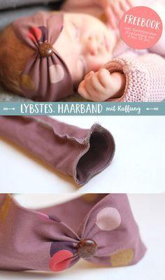 Lybstes Freebook: Nähanleitung & Schnittmuster für ein Haarband mit Raffung für Babys und Kinder,