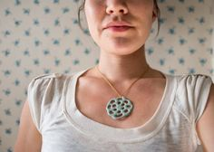 lotus root necklace, beautiful organic shaped porcelain jewelry with soft sea turquoise matte tones.