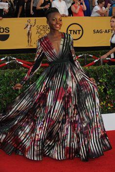Lupita Nyong'o on the SAG Awards Red Carpet. [Photo by Amy Graves]