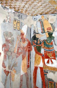 Khonsu in priestly dress offers lotus and papyrus to the pharaoh with the white crown (Upper Egypt) Ancient Egyptian Paintings, Egyptian Party, Kemet Egypt, Modern Egypt, Ancient Artifacts, Ancient Civilizations, Ancient History, Archaeology, Africa