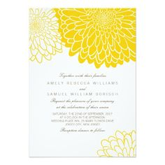 Shop White Yellow Chrysanthemum Wedding Invitation created by pinkpinetree. Yellow Wedding Invitations, Discount Wedding Invitations, Rehearsal Dinner Invitations, Quince Invitations, Wedding Stationery, Invitation Design, Invitation Cards, Flower Invitation, Invitation Wording