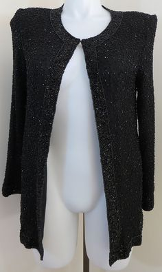 "VINTAGE ""STENAY"" SIZE XL BLACK FULLY BEADED SILK JACKET BLOUSE - SEE ALL PICTURE #STENAY #Blouse"