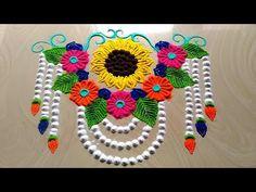 Rangoli designs with flowers/rangoli semi circle design by jyoti Rathod Indian Rangoli Designs, Rangoli Designs Latest, Rangoli Designs Flower, Small Rangoli Design, Colorful Rangoli Designs, Rangoli Designs Images, Beautiful Rangoli Designs, Easy Rangoli Patterns, Rangoli Borders