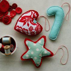 pretty handmade christmas ornaments @Frankie Cummins Wofford -I sure do need a sewing machine pronto!