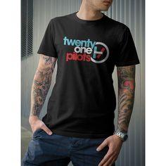 Twenty One Pilots Duo Music Band Tyler Joseph Josh Dun T-Shirt ($17) ❤ liked on Polyvore featuring tops, t-shirts, black, women's clothing, black tee, black cotton top, black top, black t shirt and black cotton t shirt