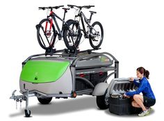GO in Travel Mode with Two Bikes and Cargo Boxes GO travels in a low, aerodynamic position when completely closed down. Attach boats, bikes and boards using most major rack manufacturers equipment. www.sylvansport.com