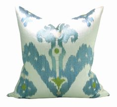 Raja Embroidery pillow cover in Sky  20 x 20 by sparkmodern, $125.00