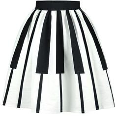 Black White Piano Key Flared Midi Skirt ($29) ❤ liked on Polyvore featuring skirts, black and white skirt, flare skirt, black white skirt, calf length skirts and mid-calf skirts
