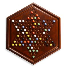 Bombay® Chinese Checkers Board with Marble Pieces in Antique Mahogany - BedBathandBeyond.com