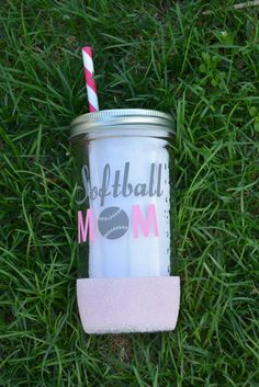 Softball Mom  Mason Jar Tumbler Dipped by SillyGeeseBoutique  ballmom, team mom, mothers day, dipped tumbler, glitter tumbler