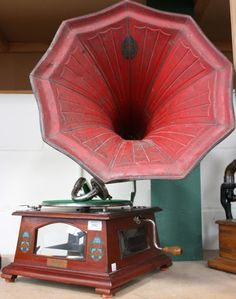 early 20th Century tabletop gramophone, 'The Crown', by Crown Gramophone Co, Malaya