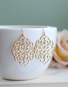 Large Gold Boho Chic Moroccan Bohemian Filigree Dangle Earrings - Wedding Jewelry