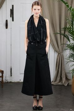 Christophe Lemaire Black maxi skirt with black and white draped top. #ss14