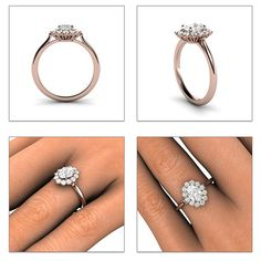 Cluster Moissanite Engagement Ring Oval Halo Forever by RareEarth