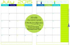 2 Pages Per Month At A Glance Academic Calendar 2015 to 2016 | #7stephomeschoolplanner