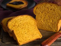 Beneath its colorful facade, this soft and chewy bread is nothing more than a white sandwich loaf with pumpkin purée taking the place of water in the dough. It lend a subtle earthiness to the bread, one that's mellow enough to keep the overall profile classic and mild. It's a versatile loaf that will add seasonal flair to any meal, whether you toast it up in the mornings to serve with butter and jam, slice it thin for grilled cheese, turn thick slabs into French toast, cube it into bread pudding