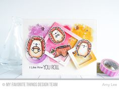 Happy Hedgehogs Stamp Set and Die-namics, Single Stitch Line Circle Frames Die-namics, Single Stitch Line Square Frames Die-namics - Amy Lee #mftstamps