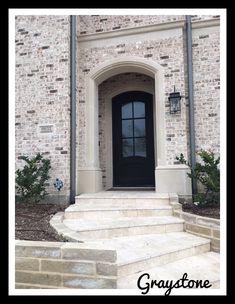 Cherokee Graystone Brick + Cherokee Graystone Brick cherokee graystone brick * cherokee graystone b Stone Exterior Houses, Stucco Exterior, Dream House Exterior, Exterior House Colors, Stone Houses, Exterior Design, Brick Exteriors, Brick Houses, Exterior Paint