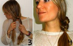 2 knots in hair to make a fancy ponytail. Leg 2 knopen in je haar voor een chique paardenstaart