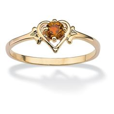 Oval-Cut Birthstone Heart-Shaped Ring in 14k Gold-Plated ($22) ❤ liked on Polyvore featuring jewelry, rings, jewelry & watches, yellow, heart ring, unisex rings, 14k jewelry, heart shaped jewelry and yellow jewelry