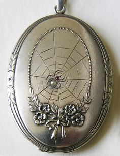 Victorian spider and flower locket