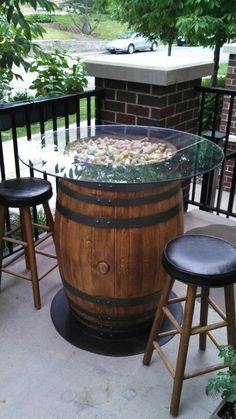 Wine Barrel Patio Table, love the scattered cork look too. Outdoor Pub Table, Outdoor Decor, Outdoor Ideas, Patio Tables, Rustic Outdoor, Patio Dining, Pool Table, Dining Rooms, Barris
