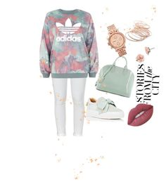 In the City by holidays131s on Polyvore featuring polyvore fashion style adidas Paige Denim BUSCEMI Louis Vuitton FOSSIL Red Camel 1928 Lime Crime clothing