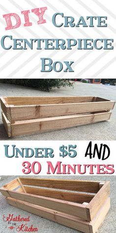 DIY Crate Centerpiece Box - Gathered In The Kitchen wood crafts crafts design crafts diy crafts furniture crafts ideas Small Wooden Crates, Small Wood Box, Diy Wooden Crate, Wood Crates, Wooden Crafts, Wood Pallets, Crate Crafts, Pallet Wood, Crate Decor