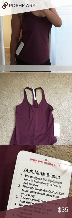 "NWT Lululemon Tech Mesh Singlet Tank Brand new with tags! Perfect for the fall. Color is ""red grape."" Pair with lulu gray leggings. Stretchy and more ""loose fitting."" Bundle and save! 💕 lululemon athletica Tops Tank Tops"