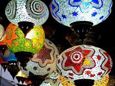 Turkish lamps at the Bazaar Turgutreis, Turkey