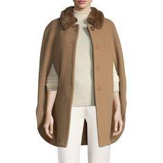 Cinzia Rocca Women's Rabbit Fur Trimmed Coat - Camel, Size 10