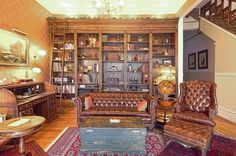 Trendy Home Library Room Victorian Study Living Room Victorian Style, Victorian Library, Victorian Homes, Desk In Living Room, Eclectic Living Room, Living Rooms, Living Spaces, Home Library Rooms, Kb Homes
