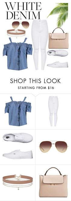"""White Denim"" by sophisticated106 on Polyvore featuring Boohoo, Vans, Linda Farrow, Miss Selfridge and MANGO"