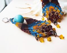 Tribal, boho micro macrame earrings - Blue Brown Turquoise