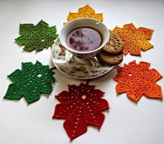 """Autumn Leaves """"crochet The size of coasters is about I used the X/b thread Miss from Al Crochet Leaf Free Pattern, Crochet Coaster Pattern, Crochet Leaves, Crochet Flower Patterns, Crochet Diagram, Crochet Motif, Crochet Doilies, Crochet Flowers, Crochet Fall Coasters"""